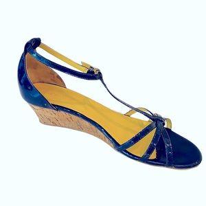 Boden Navy Patent Leather TBack Cork Sandal 10